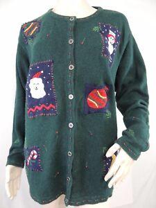 82f49246b Christmas Sweater Cardigan Green Knit Snowman Santa Candy Cane 3 X ...