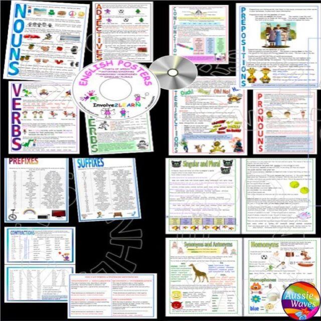 Educational TEACHING RESOURCE ENGLISH POSTERS Learn NOUNS, VERBS, PLURAL, PREFIX