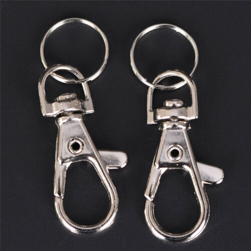 10 Pcs Silver Swivel Trigger Clips Snap Lobster Clasp Hook Bag Key Ring HooFBDC