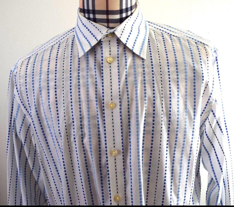 Robert Graham Mens White bluee Striped Flip Cuff Shirt XL