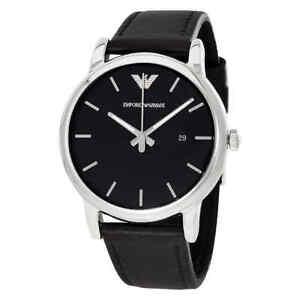 Emporio-Armani-Classic-Black-Dial-Black-Leather-Men-039-s-Watch-AR1692