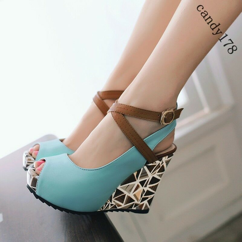 Summer Womens Open Toe Sandals Ankle Strap High Wedge Heel Pumps shoes Plus Size