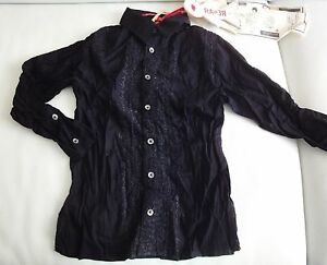 CHEMISE-noir-coton-garcon-4-ans-marque-RA-Re-NEUF-emballe-brode-froisse