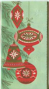 VINTAGE-CHRISTMAS-RED-GOLD-WHITE-GOLD-ORNAMENTS-TREE-MID-CENTURY-GREETING-CARD