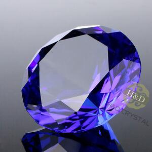 Blue-Cut-Crystal-Diamond-Shape-Paperweight-Glass-Jewel-Wedding-Favor-Gift-30mm