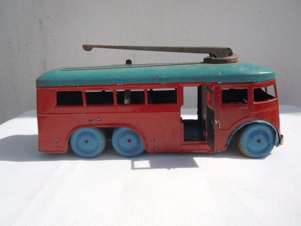 Jouet bus tôle mécanique à clé jouet ancien ancien ancien made in France 123a4d