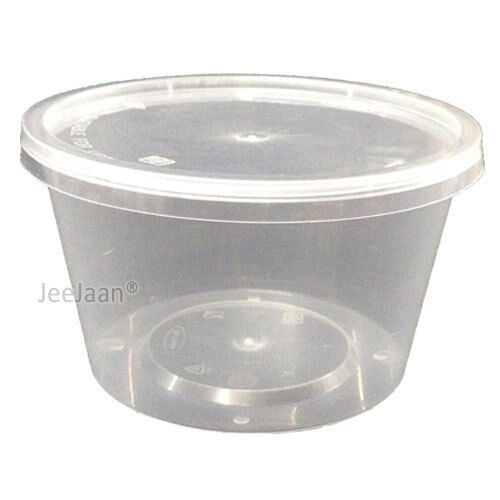 250 - 25oz CLEAR PLASTIC ROUND CONTAINERS TUBS LIDS FOOD SAFE TAKEAWAY PARTY