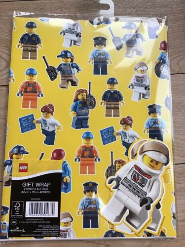 New Lego Birthday Wrapping Paper 2 Sheets /& 2 Tags