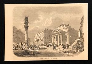 Antique-1873-Book-Print-Illustration-VIEW-IN-THE-CITY-OF-TRIESTE