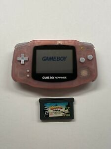 Nintendo-Gameboy-Advance-AGB-001-Clear-Pink-w-Madagascar-GBA-Game