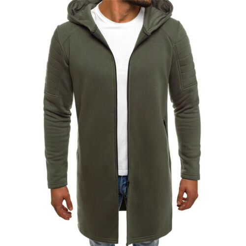 Invierno HOMBRE Abrigo con capucha chaqueta larga cálida Abrigo Con Capucha Y Cremallera Up Trench Prendas de abrigo