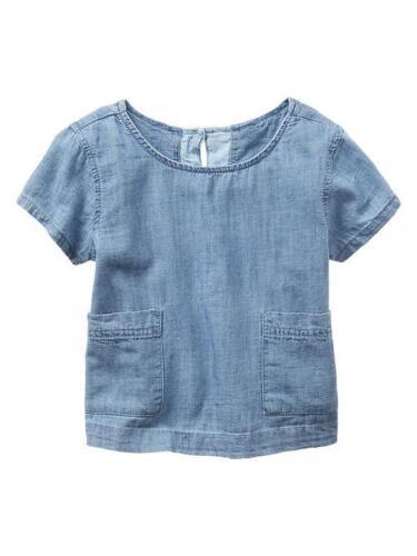 NWT $30 GAP Kids Girls Blue Chambray Denim Pocket Top Tee Shirt Medium 8 M