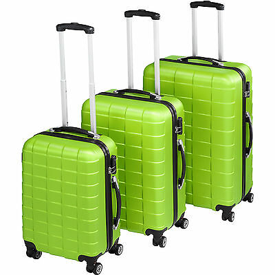 Set 3 piezas maletas ABS juego de maletas de viaje trolley maleta dura verde