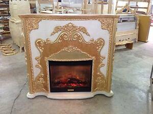 Camino Elettrico Bianco : Caminetto elettrico con stufa riscaldante bianco oro legna fiamma