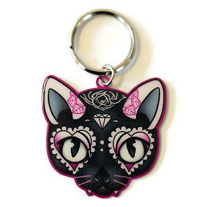 Miss-Cherry-Martini-Pink-Sugar-Skull-Kitty-Cat-Metal-Key-Ring-key-chain