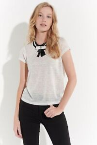 Vestino Damen Shirt mit Schleife T-Shirt Feminin Romantisch Verspielt Casual
