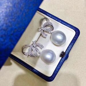 Details about  /classic pair of 11-12mm south sea round white pearl earring 925s