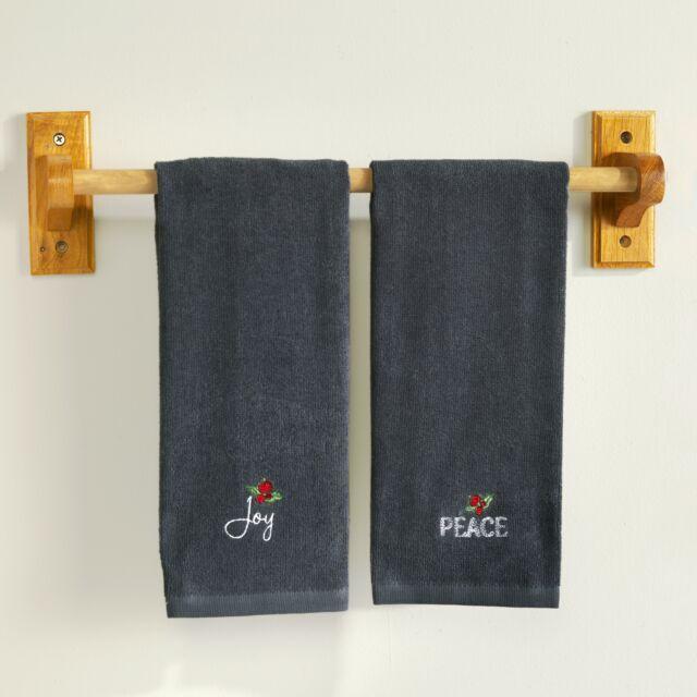 Tommy Bahama Christmas Hand Towel Set of 2 Huladays Oh Tan And Palm Embroidered