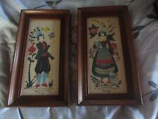 2 Vintage MARGO ALEXANDER Sophisticated Dutch Couple Provincials Framed Prints