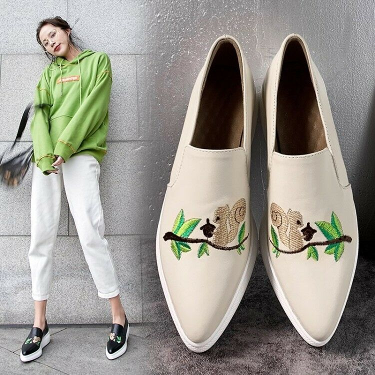 Ladies Pointy Toe Embroidered Animal Slip On Wedge Heels Leather Athletic shoes