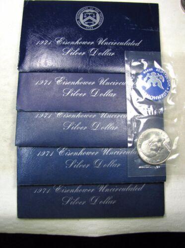 Lot of 5-1971 S Eisenhower Ike SILVER Dollars