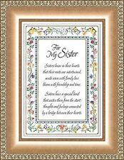 """7"""" x 9"""" Tabletop or Wall Framed Art Print  For My Sister with Verse"""
