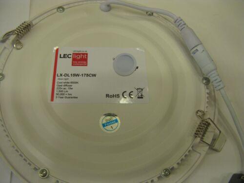 5 x LED Ceiling Light 15W 175mm Hole Size Cool White 6,500K Model LX-DL15W-175CW