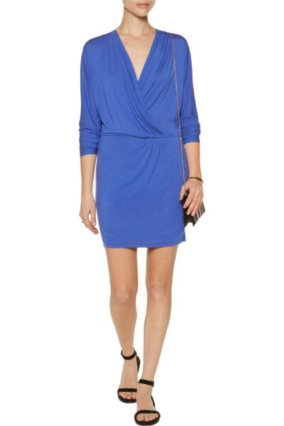 8d816270c325a4 $158 HAUTE HIPPIE Ruched DRAPED Dress COBALT BLUE Small FREE SHIPPING