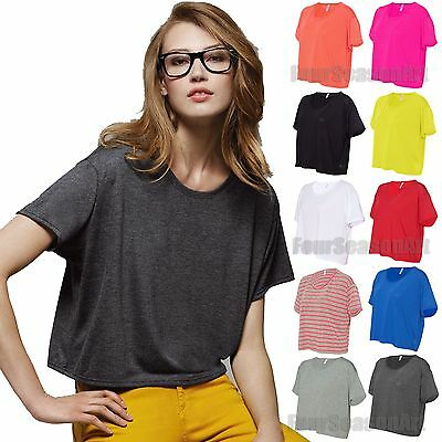 Bella Ladies Flowy Boxy Cropped Crewneck T Shirt Womens Tee S M L/XL 8881-B8881