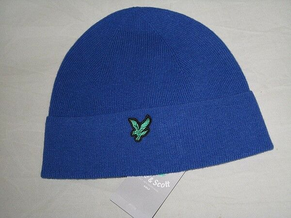 1e2ae8da35b25 to Clear Lyle   Scott Golf Mens He011g Lambswool Beanie Hat Blue One Size