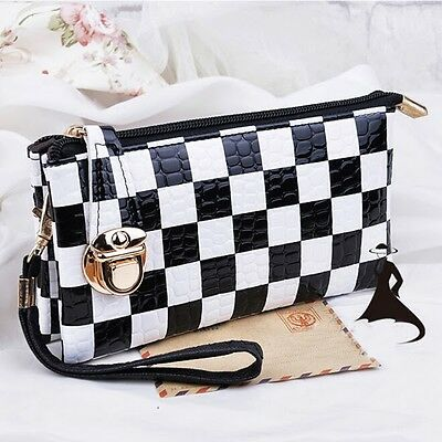 Women's Purses Black & White Gird Handbags Wrist Bag Envelope Bag Clutch Bag