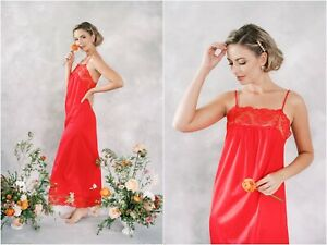 vintage 70s red lace lingerie nightgown dress wedding