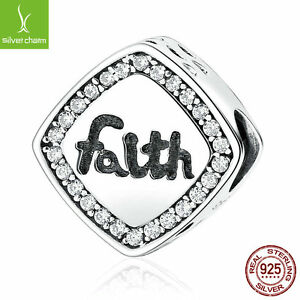 Christmas-925-Sterling-Silver-Letter-034-Faith-034-Bead-Charms-Fit-Bracelets-amp-Bangles