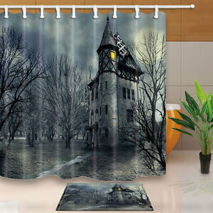 Image Is Loading Halloween Shower Curtain Set Horror Haunted House Bath