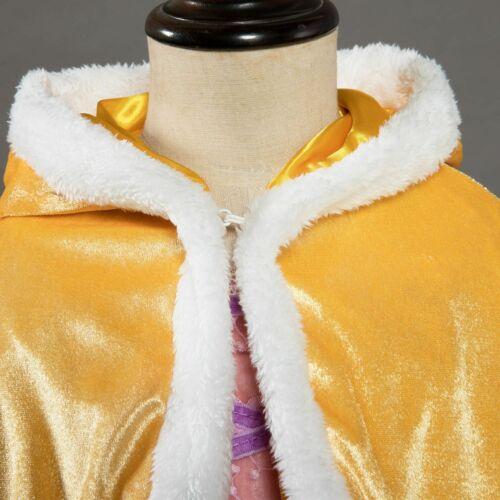 Kid Girl Hooded Princess Cape Coat Cloak Christmas Party Costume Fancy Dress ZG9