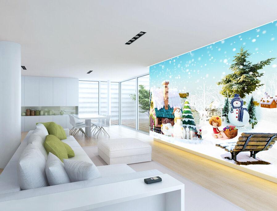 3D Snow Tree Snowflakes 84 Paper Wallpaper Mural Paper 84 Wall Print Wallpaper Murals UK 85740d