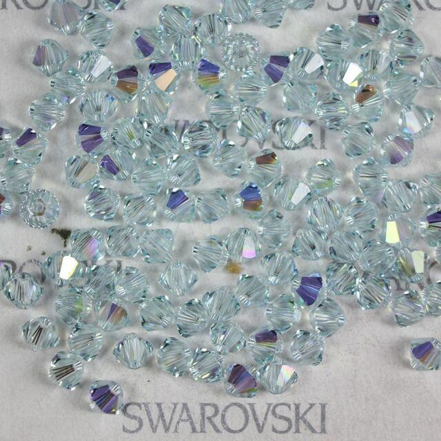 Swarovski Crystal Element 5328 5301 4mm Xilion Bicone Beads LIGHT AZORE AB (1X)