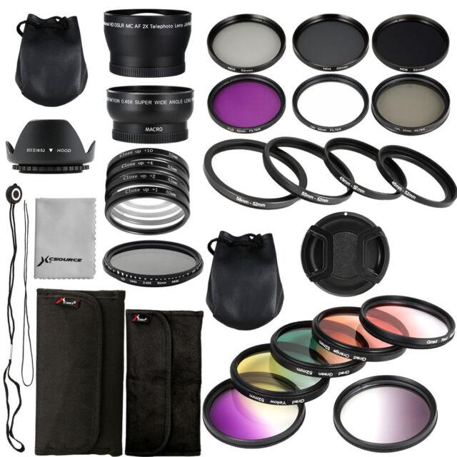 28pcs Lens + Filter Kit ND UV CPL 52mm for Nikon D7100 D5300 D5200 D5100 LF131