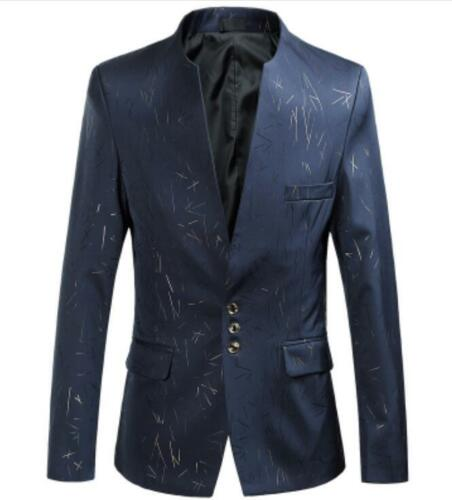 Men/'s Blazers Stand Collar Floral Slim Fit Jacket Casual Coat Outwears Plus Size