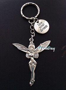 Angel-Fairy-Tinkerbell-Keyring-Wisdom-Words-LIVE-YOUR-DREAM-Charm-Birthday-Gift