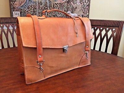 Vintage  S.American Saddle Leather Attorney / Scholar  Briefcase / Messenger Bag
