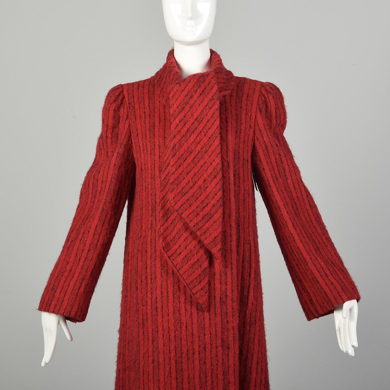 Medium 1980s Pauline Trigere Coat Red Black Strip… - image 7