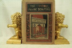 Image Is Loading Antique Old Book The House Beautiful Home Decorating