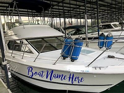 BOAT DECALS SET OF 2 CUSTOM NAME STICKER 4 X 36 PERSONALIZED DECAL LETTERING