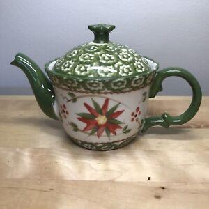 Temp-tations Old World By Tara Poinsettia Small Teapot Christmas Green Red Lid