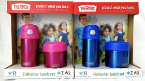 NWB! Thermos FUNtainer Bottle and Food Jar Lunch Set Pink & Blue