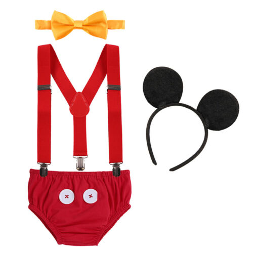Suspenders Cake Smash Pants Outfits Clothes Birthday Mickey Mouse For Baby Boys