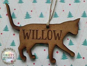 Personalised pet cat engraved Christmas bauble wooden hand made