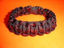 550 ParaCord Survival Cobra Braided Bracelet Thin Red Line - Fits up to 7 1/2""