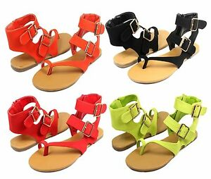 Nadya-08 Fashion Buckles Zipper Flats Cute Gladiator Sandals Party Women's Shoes